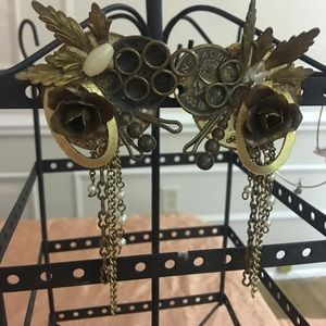 Very unique clip on brass and pearl ear rings
